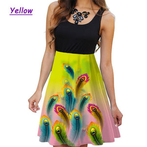 XS-5XL Summer Women Round Neck Sleeveless Dress Casual Plus Size Floral Printed Dress Slim Flower Dresses