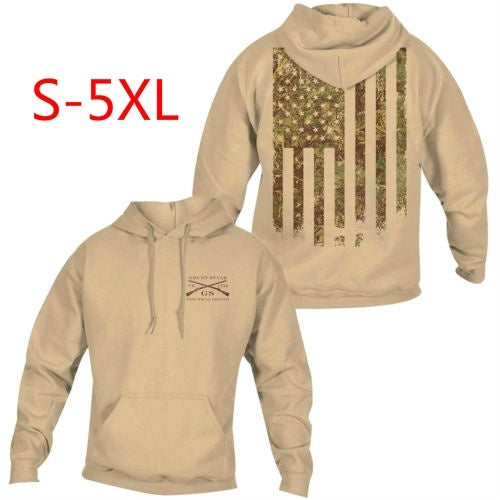 Mens casual Woodland Camo Flag Pullover Hoodie - Sand