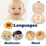 Wood/Multicolor Baby Tooth Organizer Box Teeth Keepsake Grow-Up Memory Box for 10 Languages