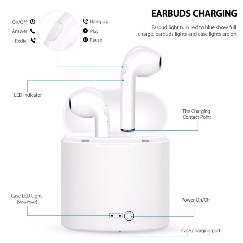 I7 TWS Bluetooth Earbuds with Charging Box Twins Earphones Stereo Sound for Smartphone Kopfhrer Blotooth Fone De Ouvido Sem Fio