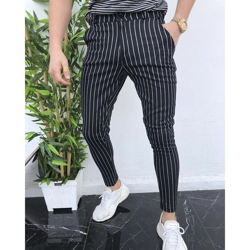 Fashion Skinny Striped Pants Mens Casual Slim Fit Jogger Pant Casual Long Trousers