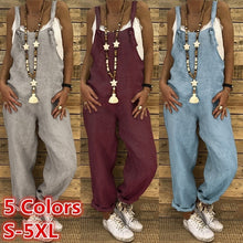 Load image into Gallery viewer, Women Summer Casual Loose Solid Color Vintage Overalls Strap Long Pants Jumpsuits Rompers Plus Size