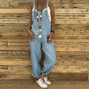 Women Summer Casual Loose Solid Color Vintage Overalls Strap Long Pants Jumpsuits Rompers Plus Size