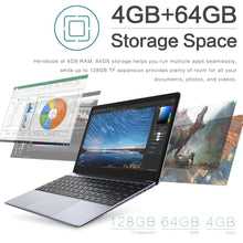 Load image into Gallery viewer, Ultra-thin Laptop 14.1 Inch 1080P Full Big Size Keyboard 4GB + 64GB Win 10 Laptop Intel Quad Core Processor Ultrabook Bluetooth 4.0 USB 3.0