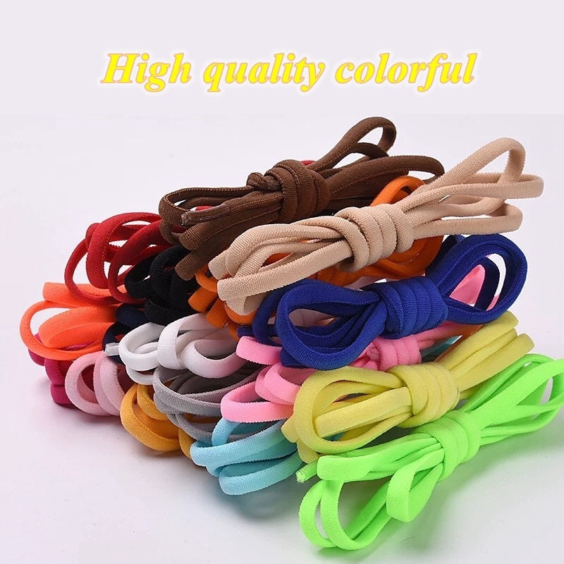 1pair Elastic Locking Shoelaces Round No Fasten Shoe Laces Kids Adult Sneakers Shoelaces Quick Lazy Shoe Lace Shoestrings (16 colors)