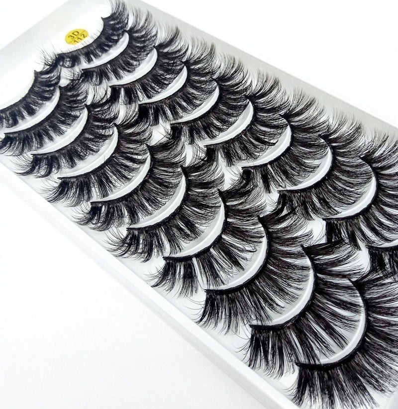 9 Styles 10 Pairs Thick Crisscross Natural 3d Mink Lashes False Eyelashes Soft Volume Long Eyelash Extension Professional Mink Eyelashes Beauty Tools Makeup Eye Lashes
