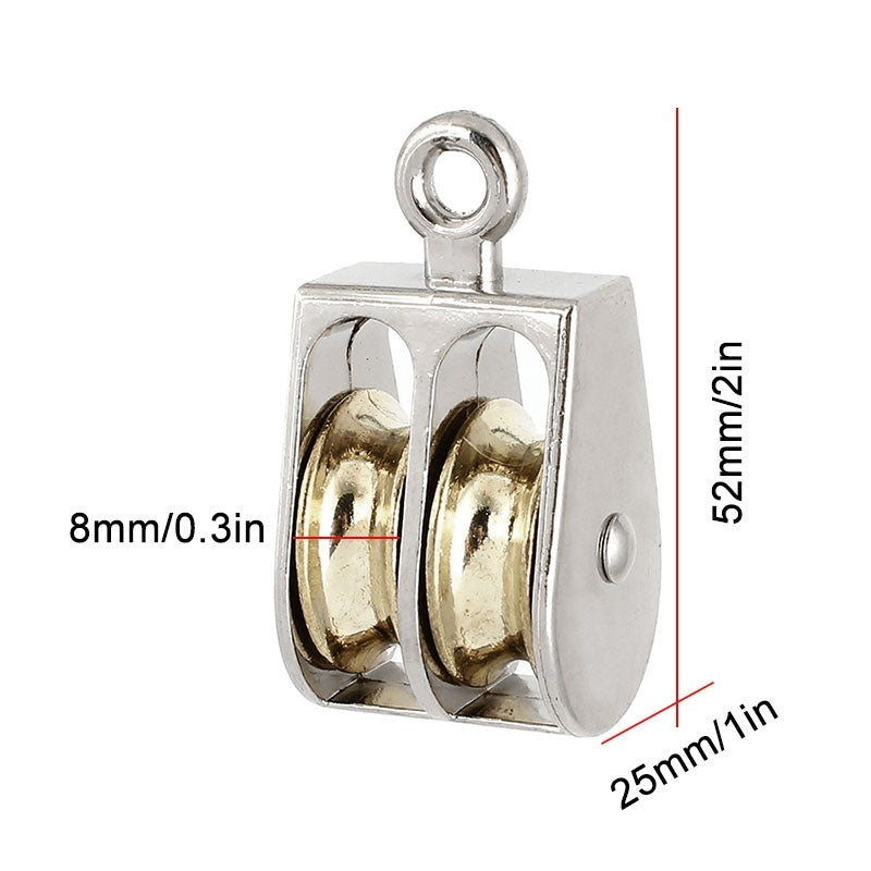 Mini Metal Single/Double Fixed Pulley Sheave Rigging Lift Hoist Rope Lifting Wheel