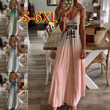 Women Summer Off Sholuder V-Neck Printed Big Swing Loose Casual Plus Size Holiday  Beach Gradient Color Long Dress Sling Dress Plus Size