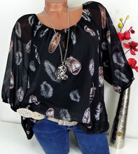 Load image into Gallery viewer, S-5XL 2019 Women Fashion Trendy Long Sleeve Feather Print Lace Up V-neck Off Shoulder Blouse Plus Size Shirts