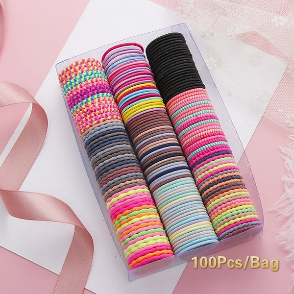 Candy Colors Kids Girls Hair Accessories Nylon Hair Ropes Rubber Bands Safe Elastic Hair Bands Scrunchies Ponytail Children Holder 100Pcs/Bag