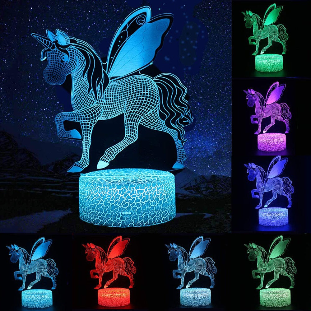 Remote / Touch Control 3D LED Night Light Unicorn-series 7 / 16 Color Change LED Table Desk Lamp Kids Xmas Gift Home Decoration