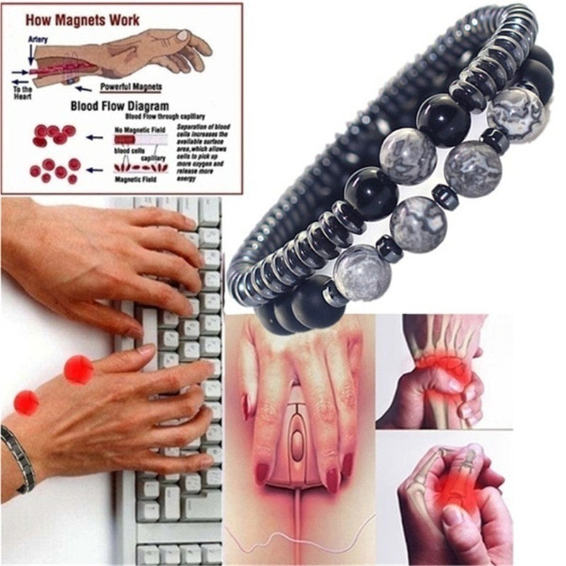 2pcs/set Arthritis Magnetic Therapy Bracelet Waterproof Swelling Magnetic Bracelet Rheumatism Hand Pain Relief Health Compression Treatment Bracelet