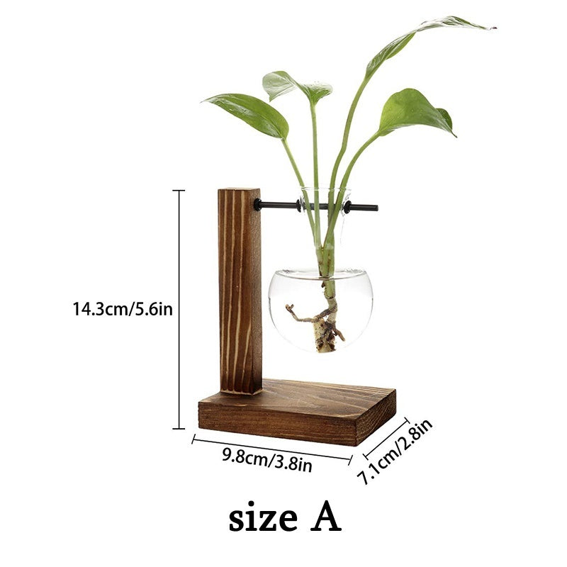 Water Planting Glass Vase, Transparent Glass Vase Hanging Plant Glass Container with Vintage Wood Shelf for Hydroponic Plant Home Garden