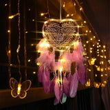 Romantic LED Dream Catcher with Feather Dreamcatcher Night Light Home Bedside Wall Hanging Home Party Wedding Decoration Lovers Gift With Light/Withou Light