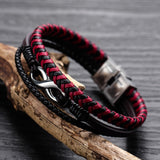 New Leather Bracelet Titanium Steel Men's Bracelet Red-black Intercolor Leather Bracelet