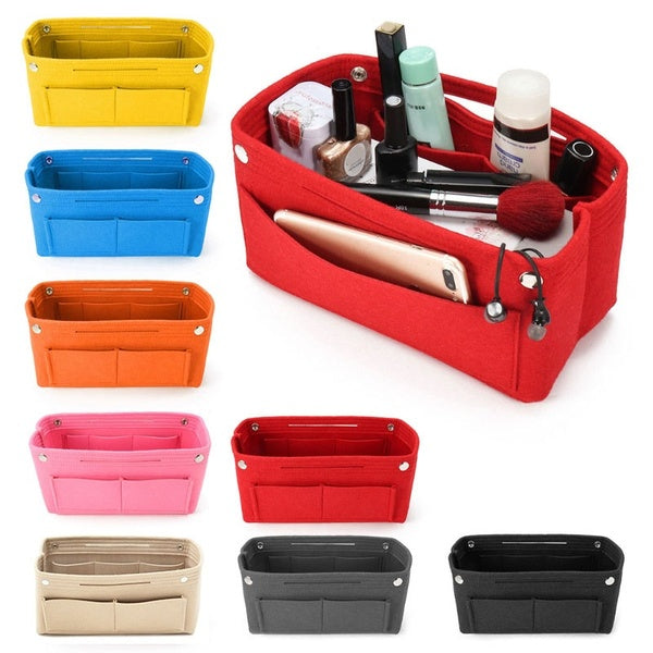 Women Multifunction Travel Cosmetic Makeup Insert Pouch Toiletry Organizer Handbag Storage Purse