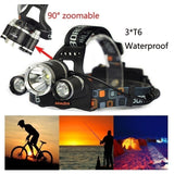 3 LED XM-L2 T6 Headlamp Headlight+2x18650 Battery+US/EU Charger+Car Charger