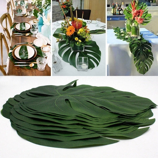 6 Tropical Artificial Palm Leaves Jungle Foliage Hawaiian Luau Summer Party Dec
