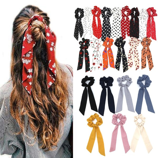 Boho Print Hair Accessories Ribbon Hair Band Elastic Ponytail Scarf Hair Rope Floral Bow Scrunchie Hair Bow Ties