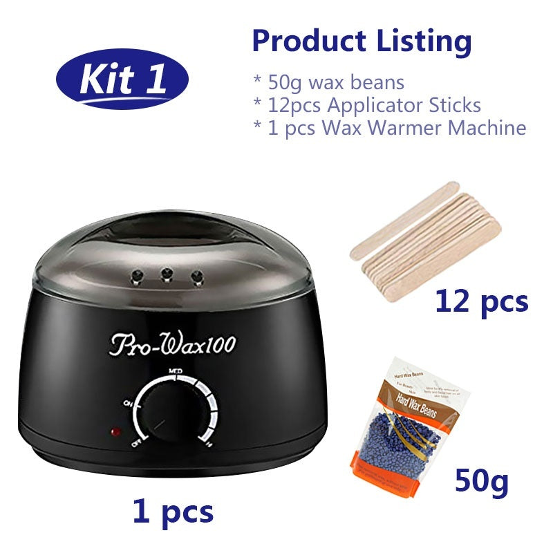 Professional Waxing Hair Removal 500cc Black Kit Electric Oakeer Depilatory Tool Wax Warmer Heater Rapid Melt At Home Waxing for Girls & Women & Men with Hard Wax Beans Applicator Sticks Wax Warmer Machine