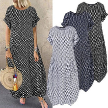 Load image into Gallery viewer, ZANZEA Women O Neck Short Sleeve Dot Printing Dress With Pockets Maxi Dress