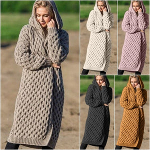 Winter Warm New Fashion Women ladies Long Knitted Sweater Hoodie Cardigan Coat