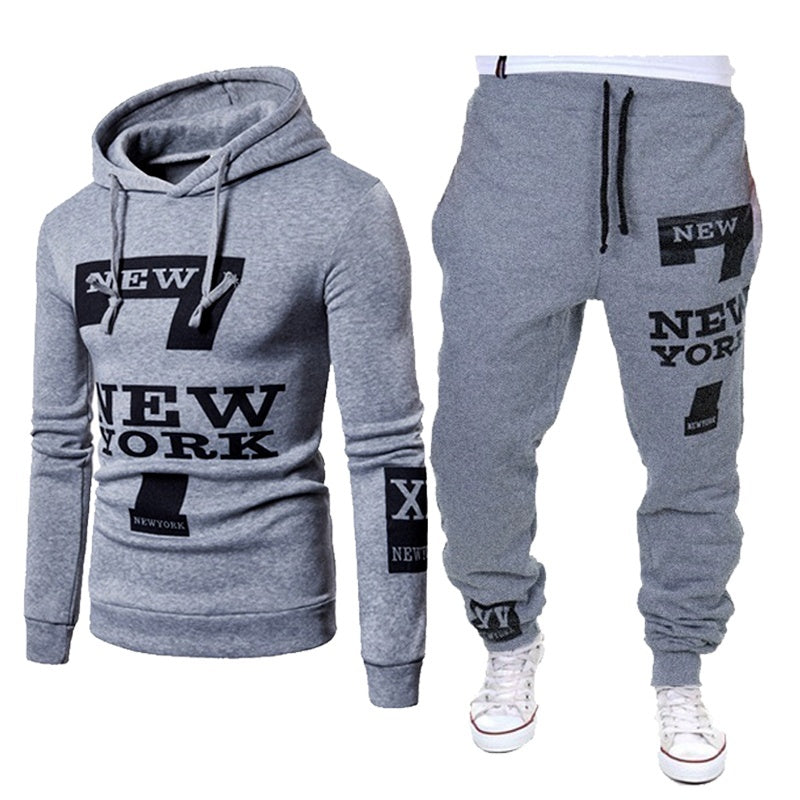 Men's Casual New York Letter Print Sweater Hoodie Pants Fashion Set Pants+Top