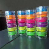 Neon Pigment Nail Powder Dust Ombre Eye Glitter Gradient Glitter Iridescent Acrylic Powder Colorful Nail Decoration 6Boxes/lot