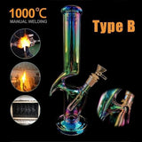 (4 Type)30cm Luminous Handmade Glass Joint 14.5mm Water Hookah Bomg Pipe Bubbler for Smoking Tool Gift