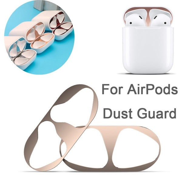 New Ultra Thin Gold Plating Shell Dust Guard Metal Film Sticker Iron Shavings Protective Cover for AirPods Case
