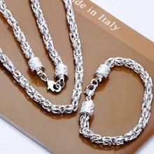 Load image into Gallery viewer, Mens Fashion 925 Necklace & Bracelet Silver Jewelry Set