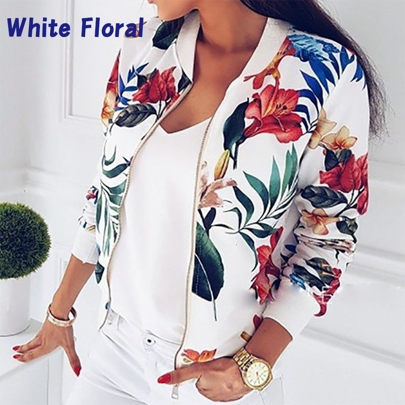 Casual Autumn Long Sleeve Women Floral Jacket Leaf Printed Outwear Zipper Up Short Bomber Pocket Plus Size Jacket Coat XS-6XL