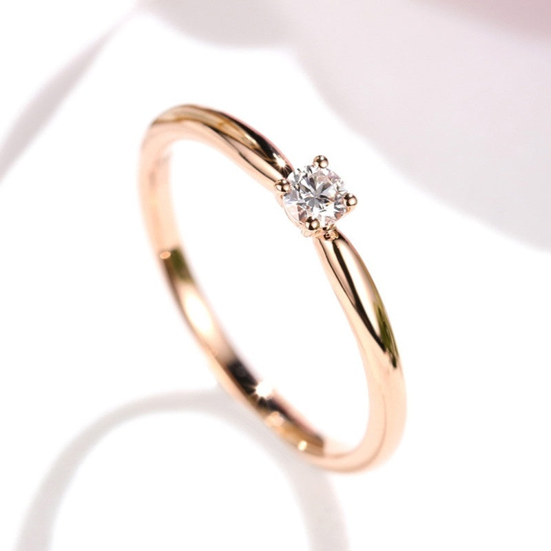 Women Fashion Cute 18k Gold Small Diamond Gemstone Rings Wedding Engagement Party Ring Jewelry