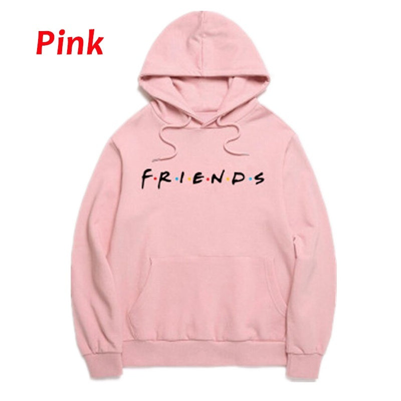 Women's Winter Autumn Fashion Hooded Casual Printed Letter Friends Long Sleeve Hoody Hoodies Sweatshirts Loose Pullover With Pocket Plus Size S-5XL