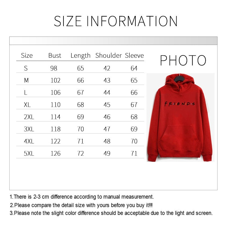 Women Friend Hoodies Women's Fashion Winter Autumn Printed Letter Friends Hooded Casual Long Sleeve Sweatshirts Loose Pullover with Pocket
