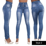 Women Casual Pants High Waist Demin Pencil Pants Slim Jeans