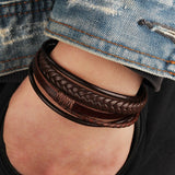 Brown Leather Bracelet Men's Magnetic Leather Buckle Buckle Hand-woven Multi-layer Men's Leather Bracelet