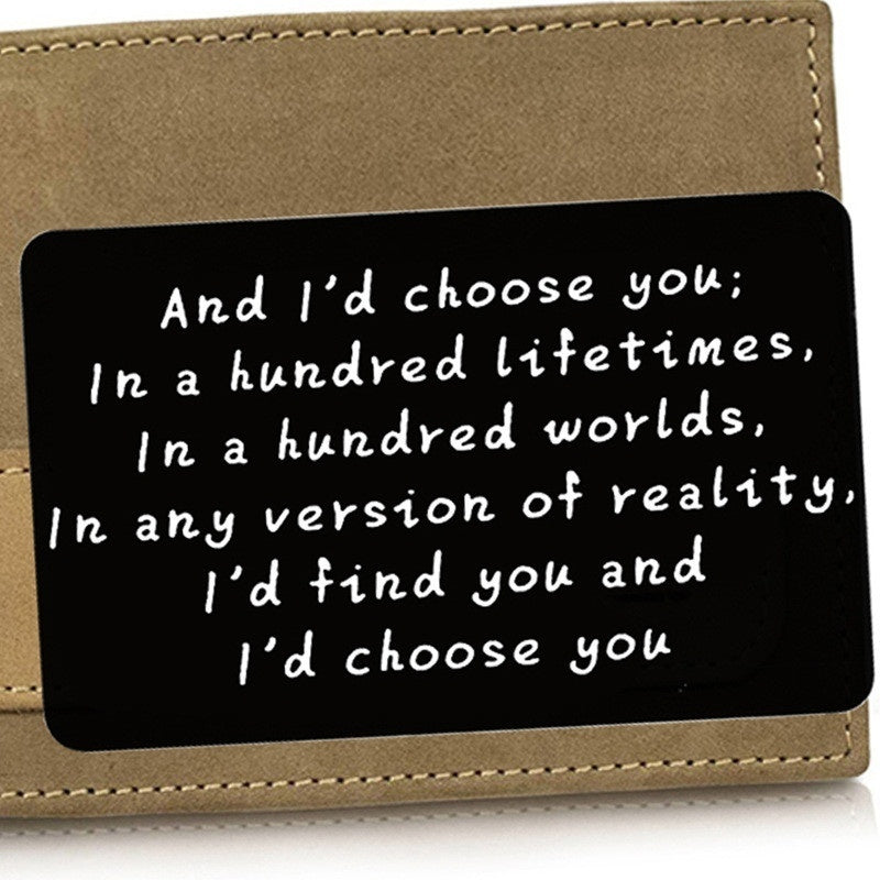 New Engraved I Love You Wallet Metal Card - Wallet Insert -Groom Gift, Husband Gift, Anniversary Gift for Boyfriend  Wallet Inserts