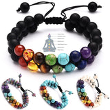 7 Chakra Bracelet Natural Healing Stones Beads Bracelet Double Layered Adjustable Macrame Woven Rope Chain Yoga Bracelet(4Colors)