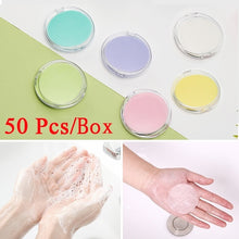 Load image into Gallery viewer, 50 Pcs 1 Box Portable Mini Disposable Soap Paper Outdoor Travel Cleaning Supplies