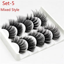 Load image into Gallery viewer, 5 Pairs / Set  3D Lashes False Eyelashes Soft and Comfortable Stereoscopic Multi layer Lashes Eyelash Extension Tool