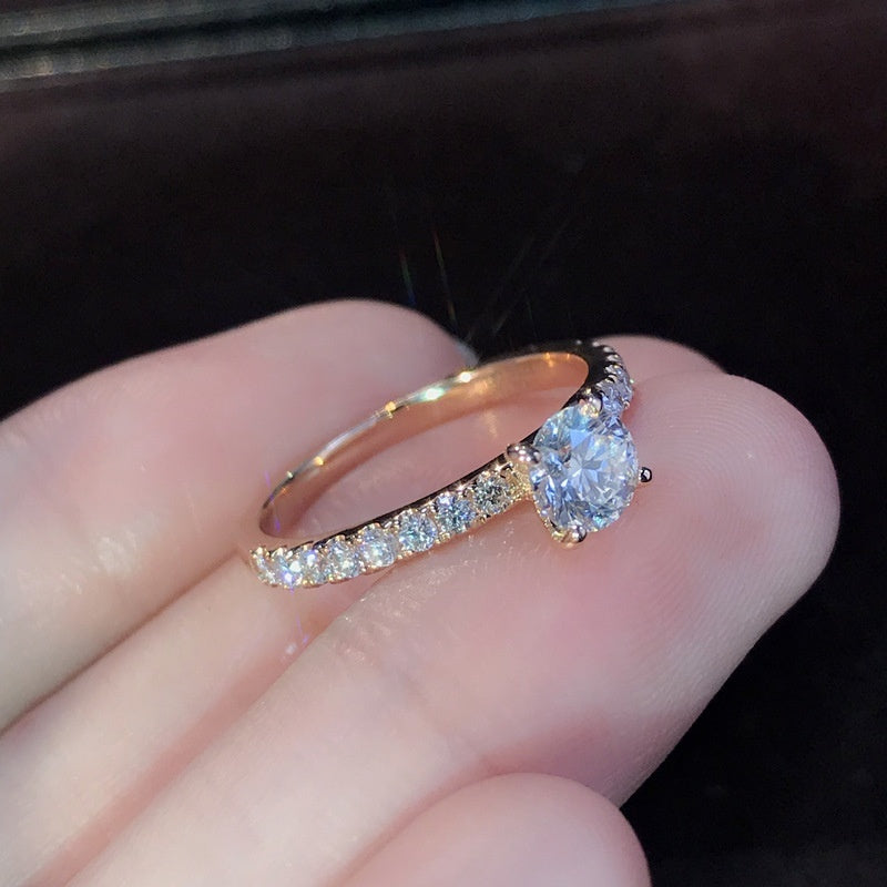 New Fashion Simple 18K Goldr Diamond Ring Engagement Ring Jewelry Holiday Gift