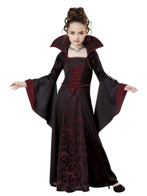 New Fashion Kids Girls California Costumes Long Dress Child Royal Vampire Costume Cosplay Clothes