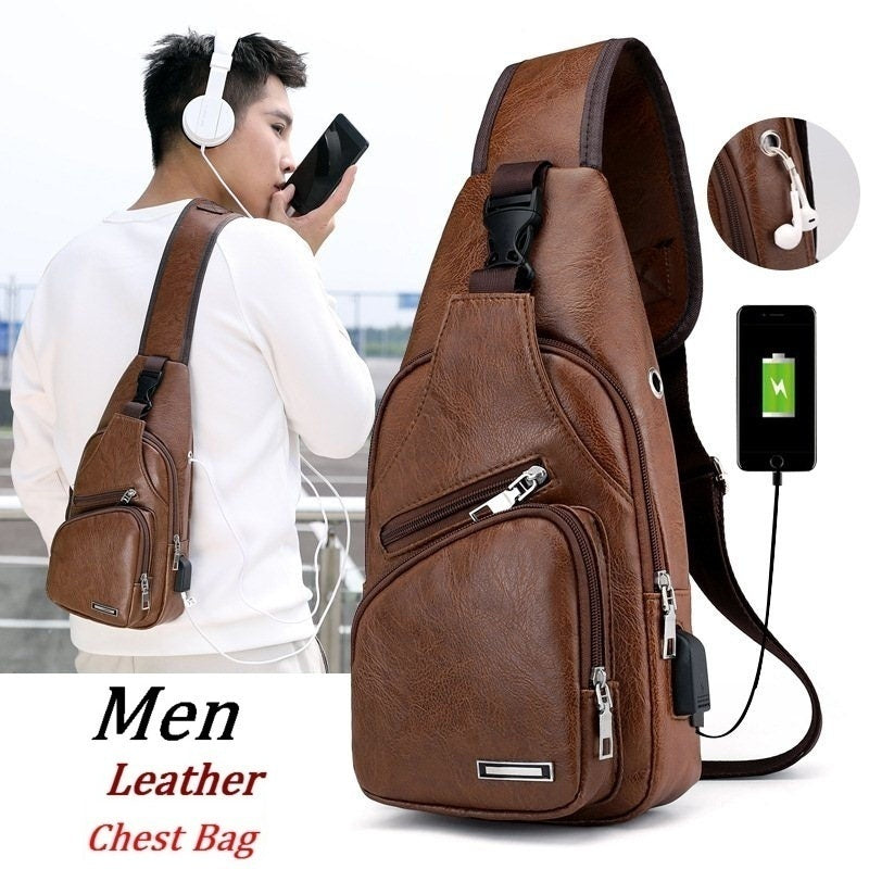 2 Styles Men's Sling Shoulder Bag PU Leather Outdoor Chest Bag with USB Port Casual Crossbody Bags