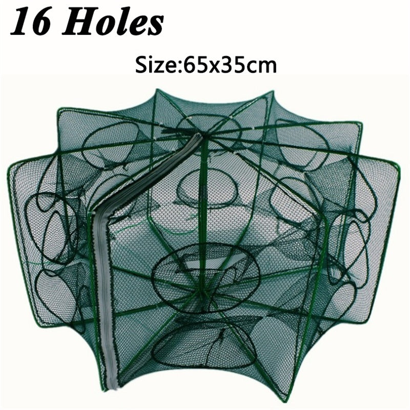 6/8/12/16 Holes Automatic Fishing Net Shrimp Cage Nylon Foldable Crab Fish Trap Cast