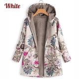 Women's Leaves Floral Print Fluffy Fur Hooded Coat Winter Female Long Sleeve Vintage Coats Manteaux Dames Veste Femme Plus Size