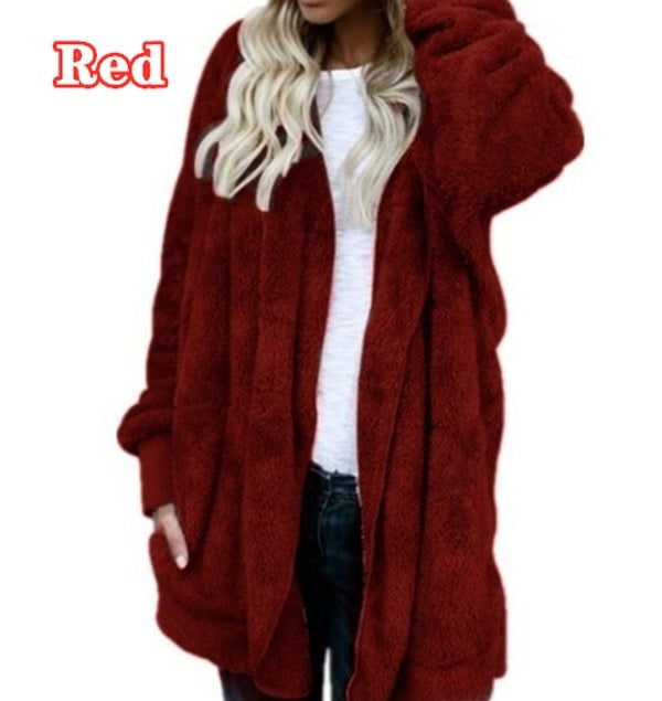 Women's Fashion Winter Warm Solid Color Cardigan Hoodies Coats Knitted Sweaters Jackets Loose Faux Fur Outwear Coat_FLLRP
