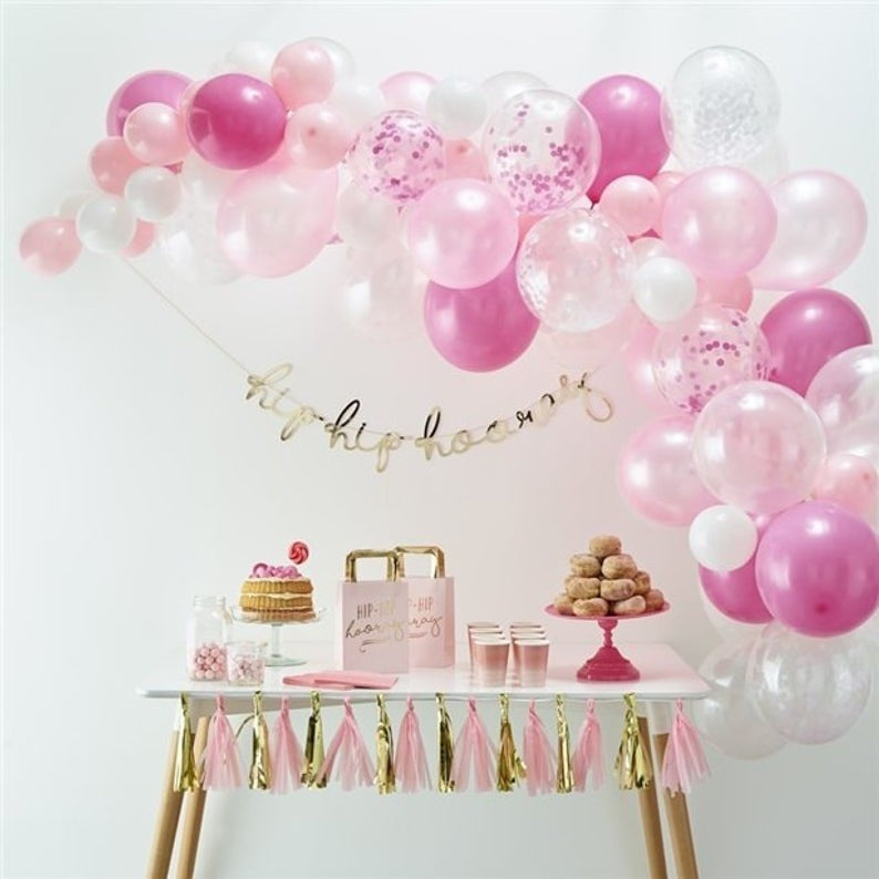 69pcs Ballon Banner for Birthday Party Rosegold Blue Pink Gold Silver