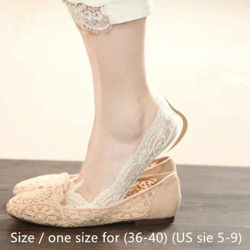 3/5Pairs Fashion Invisible Lace Cotton Ankle Socks Women Girls Low Cut Anti-slip Socks