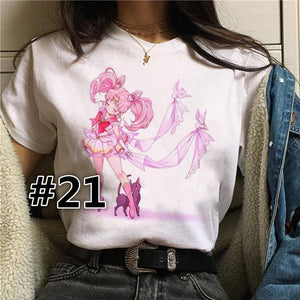 Summer 2019 Funny Women Girls Teens Cartoon T-shirt Female Harajuku Tee Short Sleeve Shirt